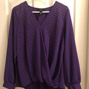 ALFANI purple long sleeve shirt elastic cuffs